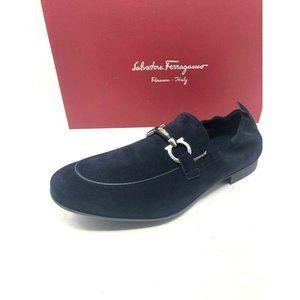New Salvatore Ferragamo Blue Shoes Suede Celso